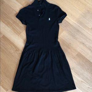 💥 RALPH LAUREN BLACK DROP WAIST POLO DRESS
